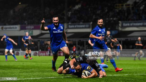 Dublin , Ireland - 1 November 2019; Dave Kearney of Leinster scores a try for his side despite the tackle of Connor Edwards of Dragons during the...