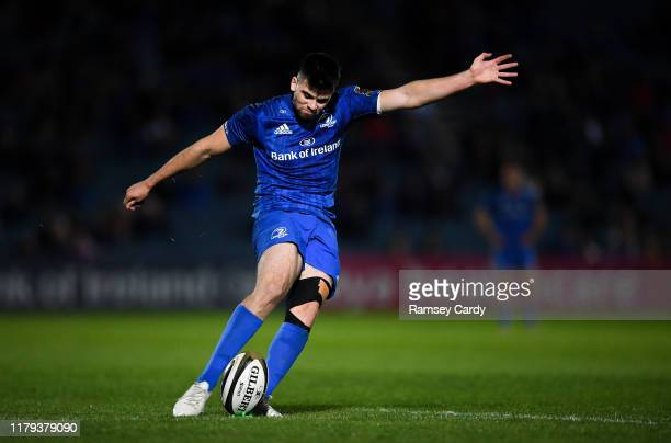 Dublin , Ireland - 1 November 2019; Harry Byrne of Leinster kicks a conversion during the Guinness PRO14 Round 5 match between Leinster and Dragons...