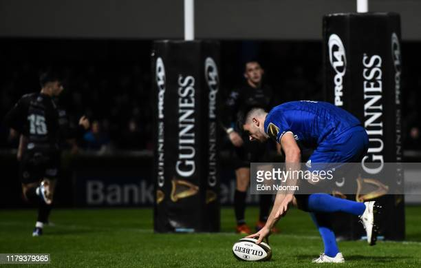 Dublin , Ireland - 1 November 2019; Harry Byrne of Leinster scores his side's third try during the Guinness PRO14 Round 5 match between Leinster and...