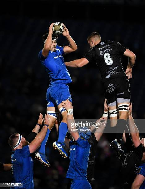 Dublin , Ireland - 1 November 2019; Max Deegan of Leinster takes the ball in the lineout against Taine Basham of Dragons during the Guinness PRO14...