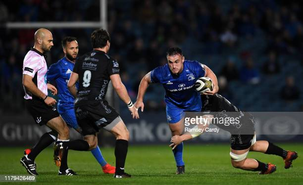 Dublin , Ireland - 1 November 2019; Rónan Kelleher of Leinster is tackled by Ollie Griffiths of Dragons during the Guinness PRO14 Round 5 match...