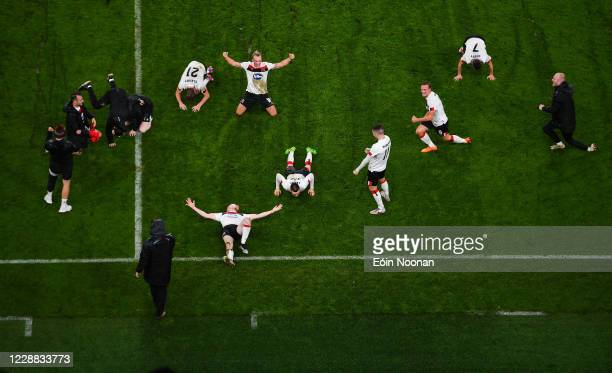 Dublin , Ireland - 1 October 2020; Dundalk players celebrate following their side's victory in the UEFA Europa League Play-off match between Dundalk...