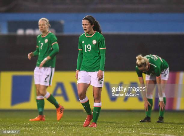 Dublin Ireland 10 April 2018 Amy Boyle Carr centre Diane Caldwell left and Megan Connolly right of Republic of Ireland after conceeding their first...