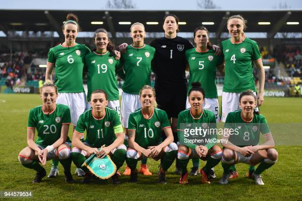 Dublin Ireland 10 April 2018 The Republic of Ireland team back row from left Karen Duggan Amy Boyle Carr Diane Caldwell Marie Hourihan Niamh Fahey...