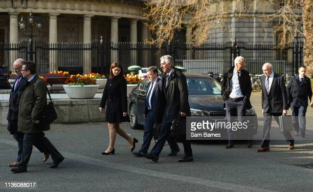 Dublin Ireland 10 April 2019 Attending a meeting with the Oireachtas Committee on Sport at Dáil Éireann in Dublin are from left Fran Gavin FAI...
