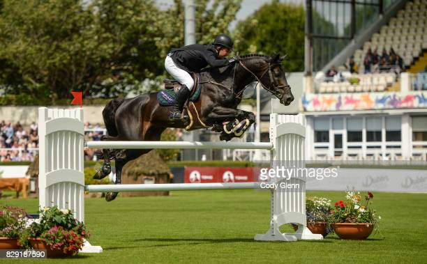 Dublin Ireland 10 August 2017 Cian O'Connor of Ireland competing on Copain du Perchet CH on their way to a 5th place finish in The Speed Derby by The...