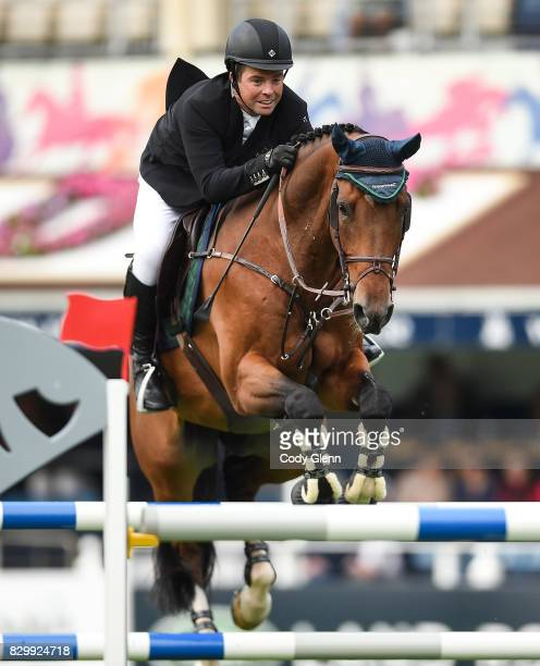 Dublin Ireland 10 August 2017 Cian O'Connor of Ireland competing on Skyhorse during the Anglesea Serpentine Stakes at the Dublin Horse Show at the...
