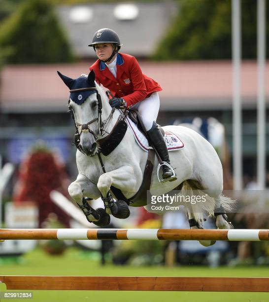 Dublin Ireland 10 August 2017 Lillie Keenan of USA competing on Fibonacci 17 during the Anglesea Serpentine Stakes at Dublin Horse Show at the RDS in...