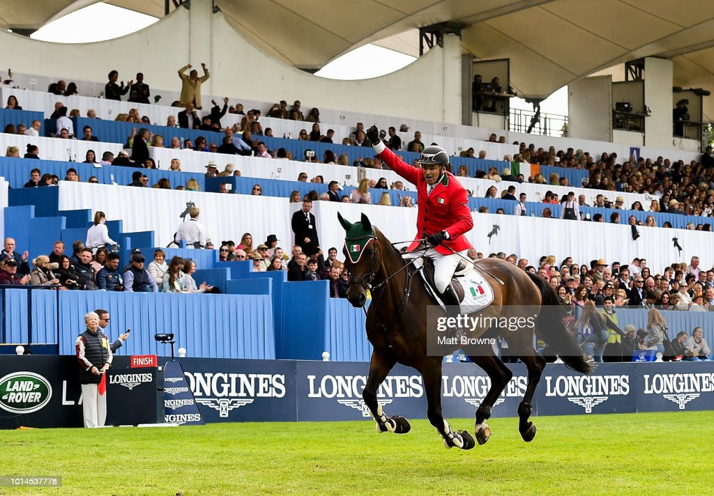 Dublin , Ireland - 10 August 2018; Enrique Gonzalez of Mexico competing on Chacna jumps the last during the Longines FEI Jumping Nations Cup of Ireland during the StenaLine Dublin Horse Show at the RDS Arena in Dublin.