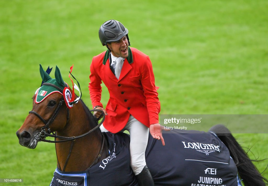 Dublin , Ireland - 10 August 2018; Eugenio Garza Perez of Mexico competing on Victer Finn DH Z celebrates after the Longines FEI Jumping Nations Cup of Ireland during the StenaLine Dublin Horse Show at the RDS Arena in Dublin.