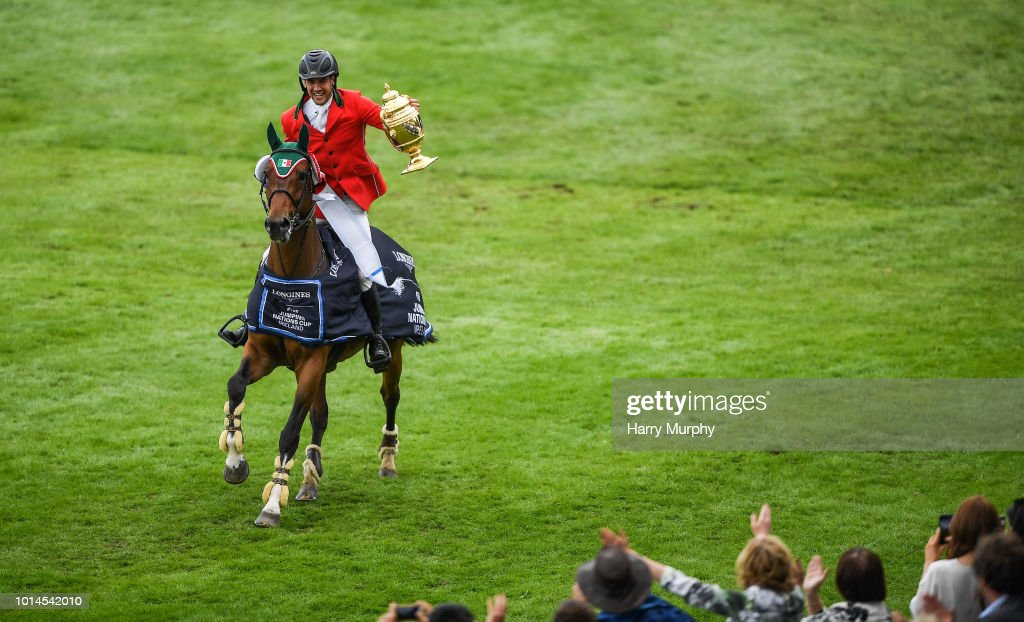Dublin , Ireland - 10 August 2018; Eugenio Garza Perez of Mexico competing on Victer Finn DH Z with the Aga Khan Cup after the Longines FEI Jumping Nations Cup of Ireland during the StenaLine Dublin Horse Show at the RDS Arena in Dublin.