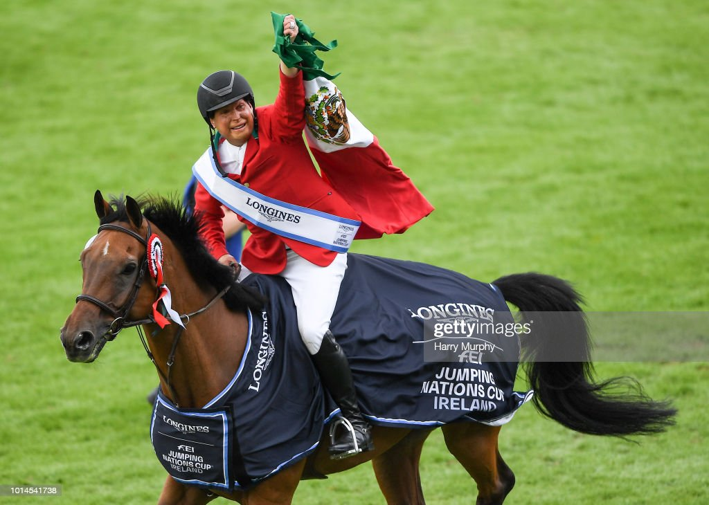 Dublin , Ireland - 10 August 2018; Federico Fernandez competing on Landpeter Do Feroleto with the Aga Khan Cup after the Longines FEI Jumping Nations Cup of Ireland during the StenaLine Dublin Horse Show at the RDS Arena in Dublin.