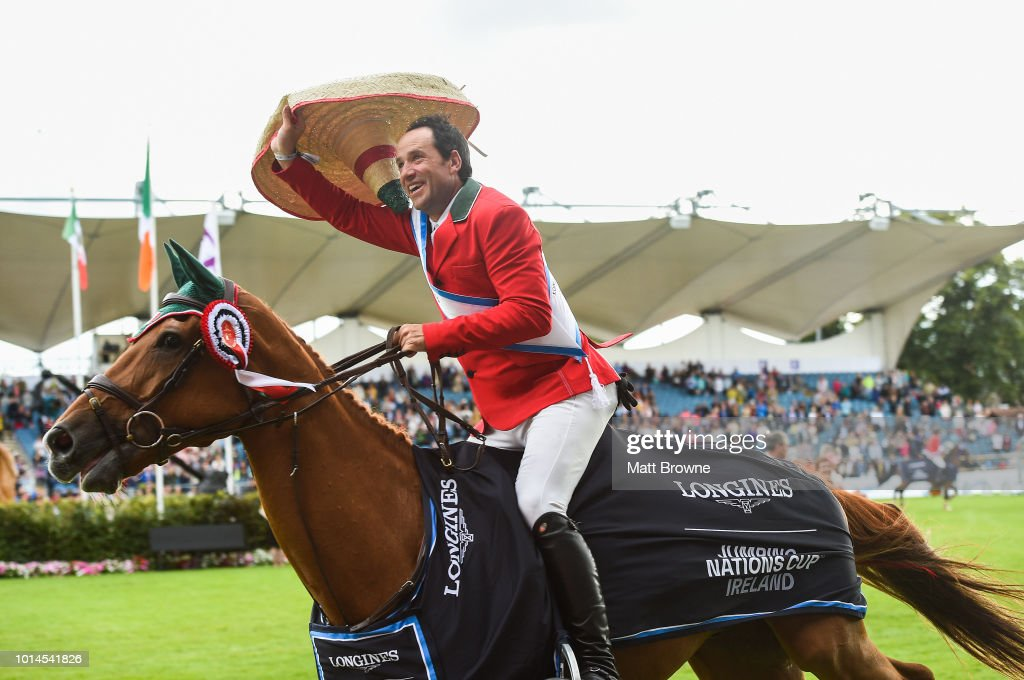 Dublin , Ireland - 10 August 2018; Patricio Pasquel from Mexico competing on Babel celebrates after the Nations Cup during the StenaLine Dublin Horse Show at the RDS Arena in Dublin.