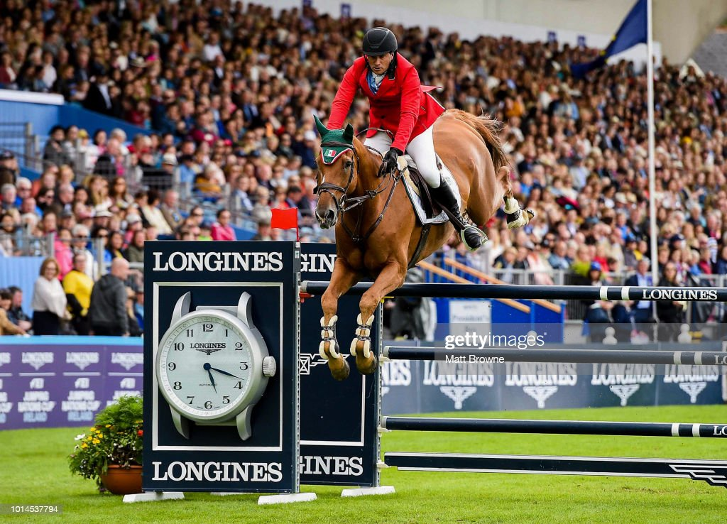 Dublin , Ireland - 10 August 2018; Patricio Pasquel of Mexico competing on Babel jumps the last to complete a clear round during the Longines FEI Jumping Nations Cup of Ireland during the StenaLine Dublin Horse Show at the RDS Arena in Dublin.