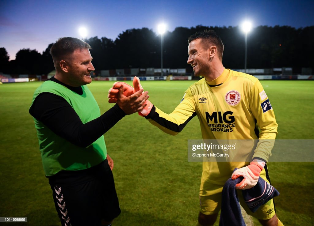 Dublin , Ireland - 10 August 2018; St Patrick's Athletic goalkeeper Brendan Clarke with Inchicore Athletic replacement goalkeeper Sean Berry following the Irish Daily Mail FAI Cup First Round match between Inchicore Athletic and St Patrick's Athletic at Richmond Park in Inchicore, Dublin.