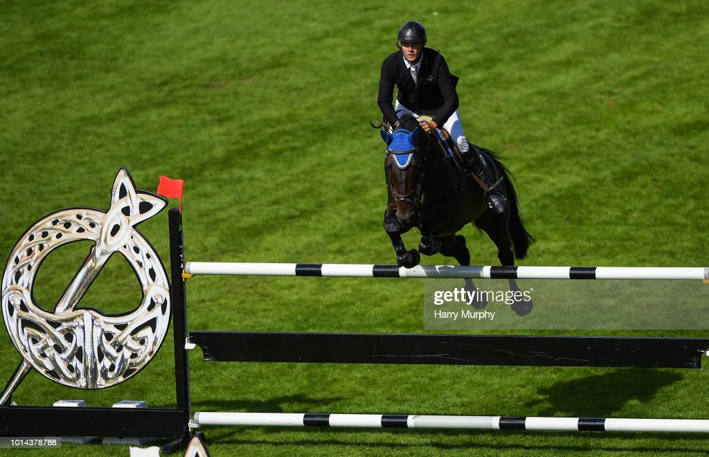 Dublin , Ireland - 10 August 2018; Vincent Byrne of Ireland competing on Ganturano during the International 7 and 8 Year Olds during the StenaLine Dublin Horse Show at the RDS Arena in Dublin.