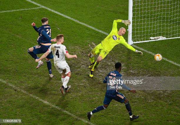 Dublin , Ireland - 10 December 2020; Calum Chambers of Arsenal scores his side's fifth goal, which is subsequently disallowed for offside, during the...