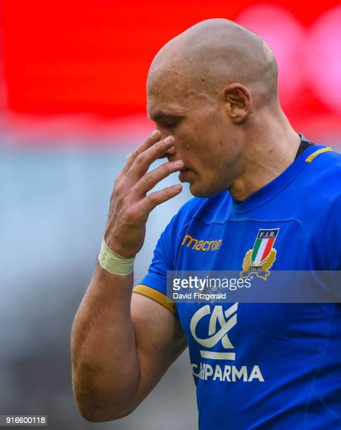 Dublin Ireland 10 February 2018 A dejected Sergio Parisse of Italy following his side's defeat in the Six Nations Rugby Championship match between...