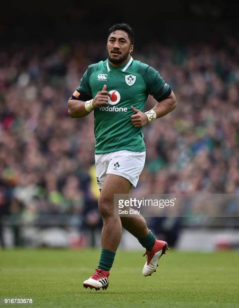 Dublin Ireland 10 February 2018 Bundee Aki of Ireland during the Six Nations Rugby Championship match between Ireland and Italy at the Aviva Stadium...