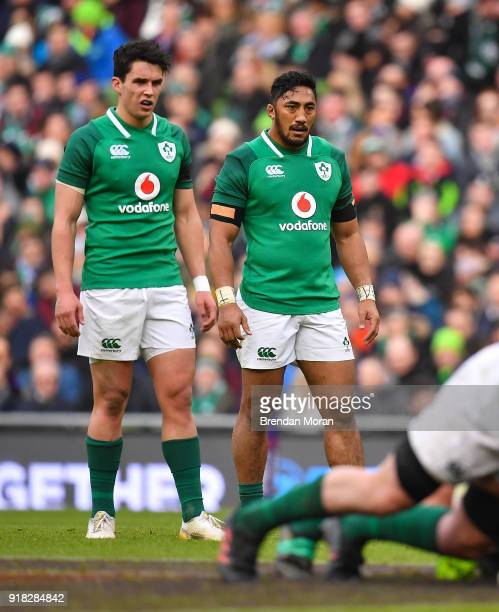 Dublin Ireland 10 February 2018 Bundee Aki of Ireland right and teammate Joey Carbery during the Six Nations Rugby Championship match between Ireland...