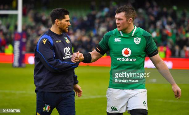 Dublin Ireland 10 February 2018 Ian McKinley left of Italy and Peter O'Mahony of Ireland after the Six Nations Rugby Championship match between...