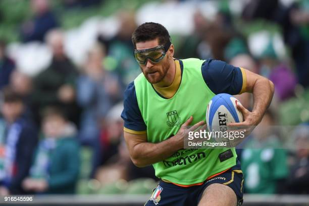 Dublin Ireland 10 February 2018 Ian McKinley of Italy warms up prior to the Six Nations Rugby Championship match between Ireland and Italy at the...
