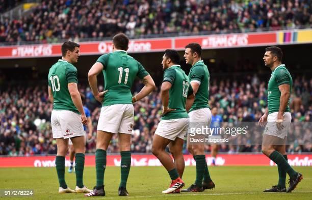 Dublin Ireland 10 February 2018 Ireland backline from left Jonathan Sexton Jacob Stockdale Bundee Aki Robbie Henshaw and Rob Kearney during the Six...