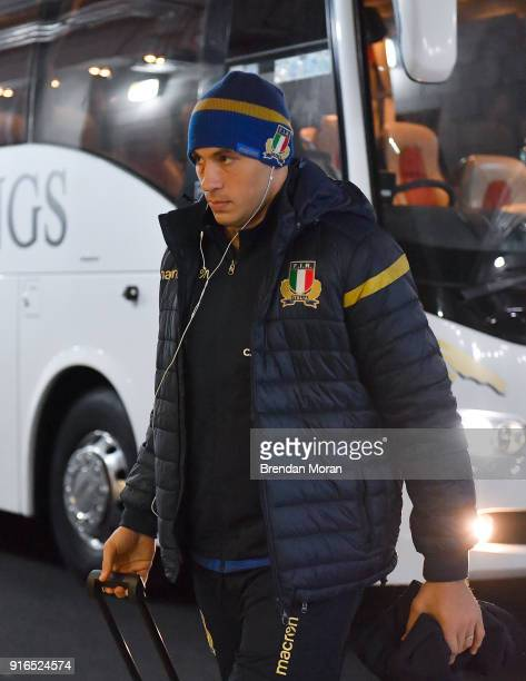 Dublin Ireland 10 February 2018 Italy captain Sergio Parisse arrives prior to the Six Nations Rugby Championship match between Ireland and Italy at...