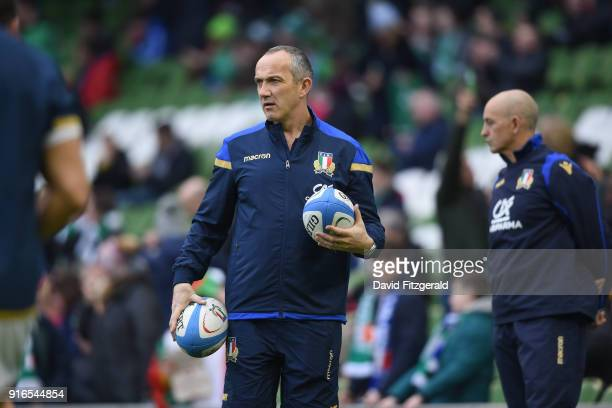 Dublin Ireland 10 February 2018 Italy head coach Conor O'Shea prior to the Six Nations Rugby Championship match between Ireland and Italy at the...