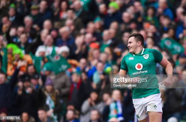 Dublin Ireland 10 February 2018 Jacob Stockdale of Ireland after scoring his side's eighth try during the Six Nations Rugby Championship match...