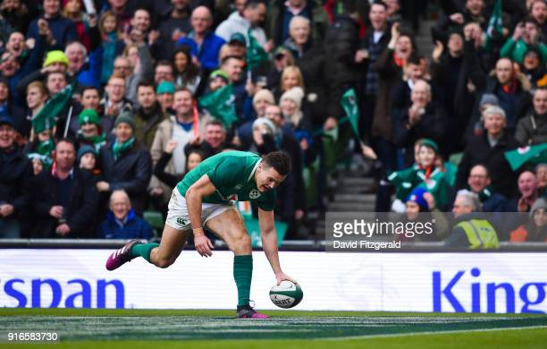 Dublin Ireland 10 February 2018 Jacob Stockdale of Ireland goes over to score his side's eighth try during the Six Nations Rugby Championship match...