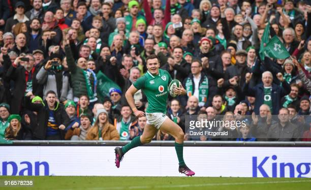 Dublin Ireland 10 February 2018 Jacob Stockdale of Ireland runs in to score his side's eighth try during the Six Nations Rugby Championship match...