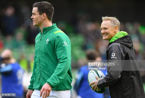 Dublin Ireland 10 February 2018 Jonathan Sexton of Ireland left with head coach Joe Schmidt prior to the Six Nations Rugby Championship match between...