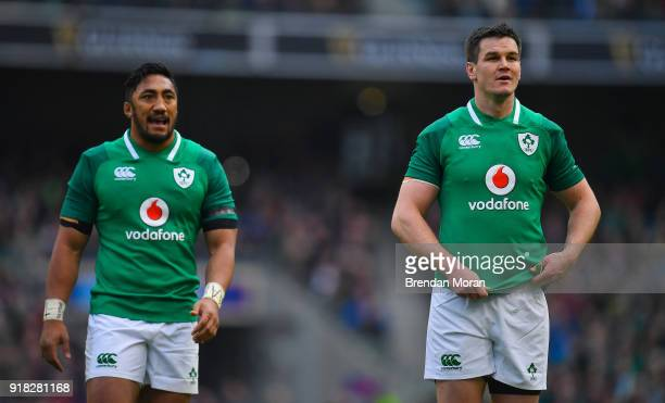 Dublin Ireland 10 February 2018 Jonathan Sexton of Ireland right with teammate Bundee Aki during the Six Nations Rugby Championship match between...