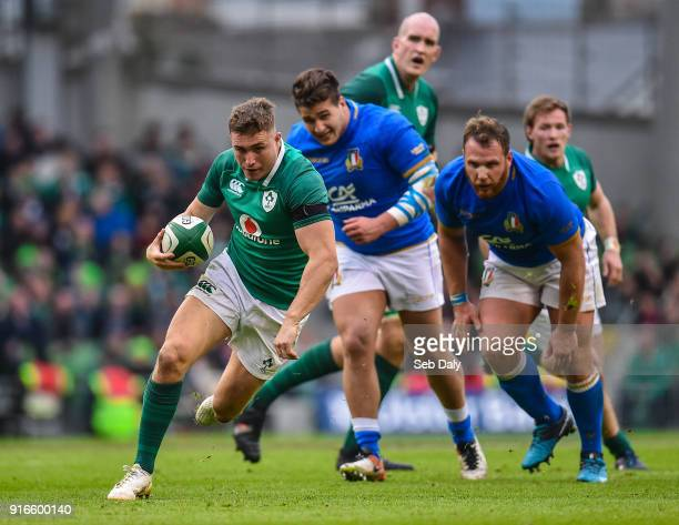 Dublin Ireland 10 February 2018 Jordan Larmour of Ireland during the Six Nations Rugby Championship match between Ireland and Italy at the Aviva...
