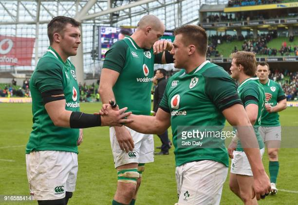 Dublin Ireland 10 February 2018 Peter O'Mahony left and CJ Stander of Ireland congratulate each other following their side's victory during the Six...