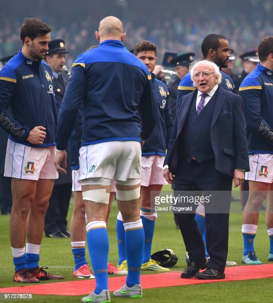 Dublin Ireland 10 February 2018 President of Ireland Michael D Higgins meets Italian captain Sergio Parisse prior to the Six Nations Rugby...