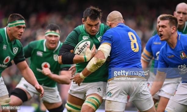 Dublin Ireland 10 February 2018 Quinn Roux of Ireland is tackled by Sergio Parisse of Italy during the Six Nations Rugby Championship match between...