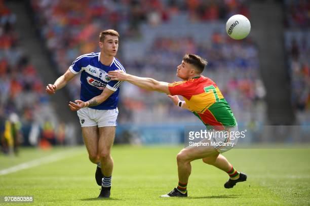 Dublin Ireland 10 June 2018 Trevor Collins of Laois in action against Ciarán Moran of Carlow during the Leinster GAA Football Senior Championship...