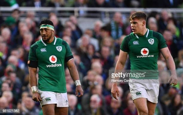 Bundee Aki left and Garry Ringrose of Ireland during the NatWest Six Nations Rugby Championship match between Ireland and Scotland at the Aviva...
