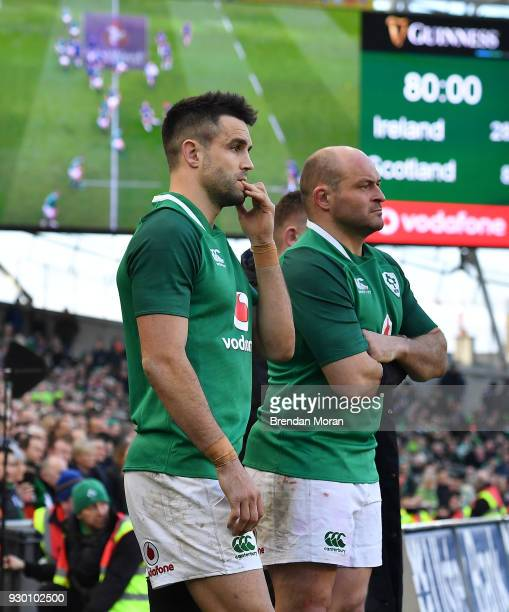Conor Murray left and Rory Best of Ireland watch the final moments of the NatWest Six Nations Rugby Championship match between Ireland and Scotland...