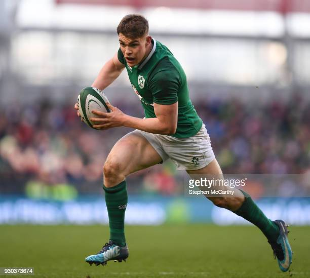 Dublin Ireland 10 March 2018 Garry Ringrose of Ireland during the NatWest Six Nations Rugby Championship match between Ireland and Scotland at the...