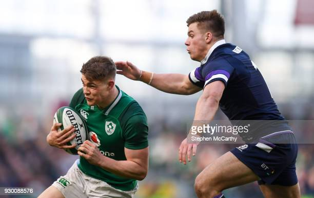 Dublin Ireland 10 March 2018 Garry Ringrose of Ireland in action against Huw Jones of Scotland during the NatWest Six Nations Rugby Championship...