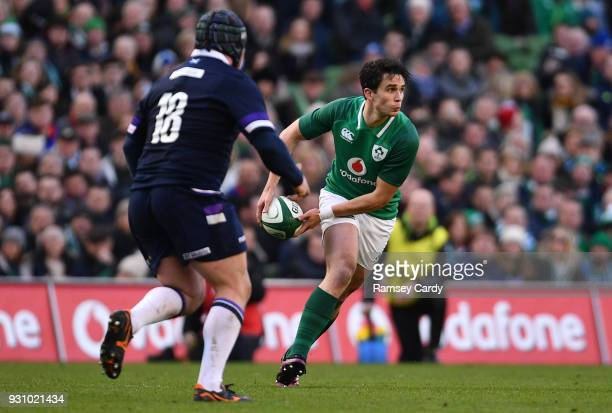 Joey Carbery of Ireland during the NatWest Six Nations Rugby Championship match between Ireland and Scotland at the Aviva Stadium in Dublin