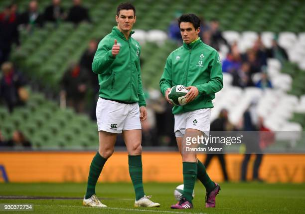 Jonathan Sexton left and Joey Carbery of Ireland prior to the NatWest Six Nations Rugby Championship match between Ireland and Scotland at the Aviva...