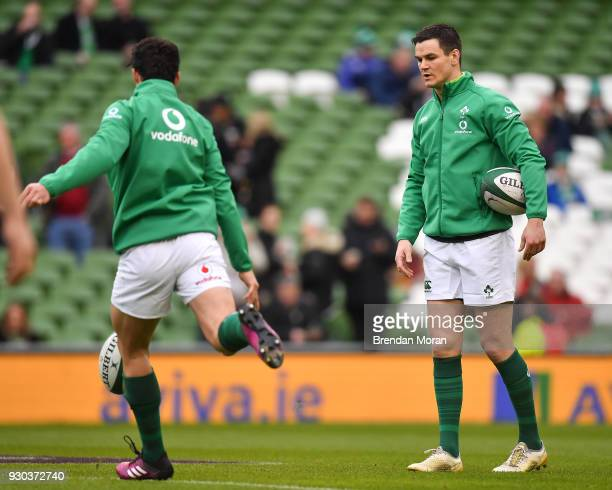 Jonathan Sexton right and Joey Carbery of Ireland prior to the NatWest Six Nations Rugby Championship match between Ireland and Scotland at the Aviva...