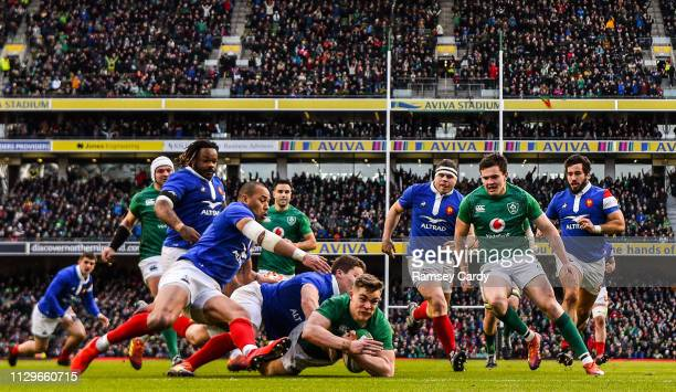 Dublin Ireland 10 March 2019 Garry Ringrose of Ireland dives over to score a try which was subsequently disallowed during the Guinness Six Nations...