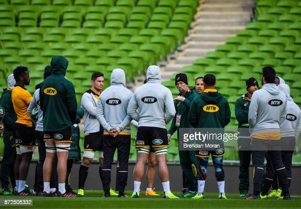 Dublin Ireland 10 November 2017 Defence coach Brendan Venter speaks to the players during South Africa rugby captain's run at Aviva Stadium in Dublin