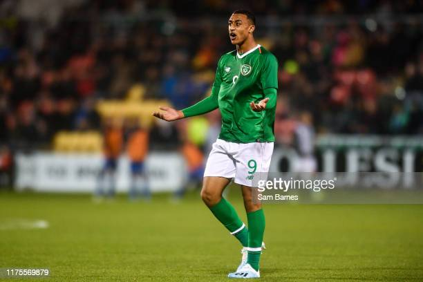 Dublin , Ireland - 10 October 2019; Adam Idah of Republic of Ireland appeals a decision during the UEFA European U21 Championship Qualifier Group 1...