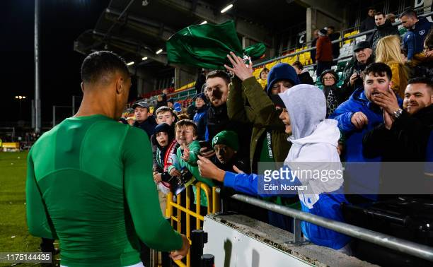 Dublin Ireland 10 October 2019 Adam Idah of Republic of Ireland throws his jersey into the crowd following the UEFA European U21 Championship...